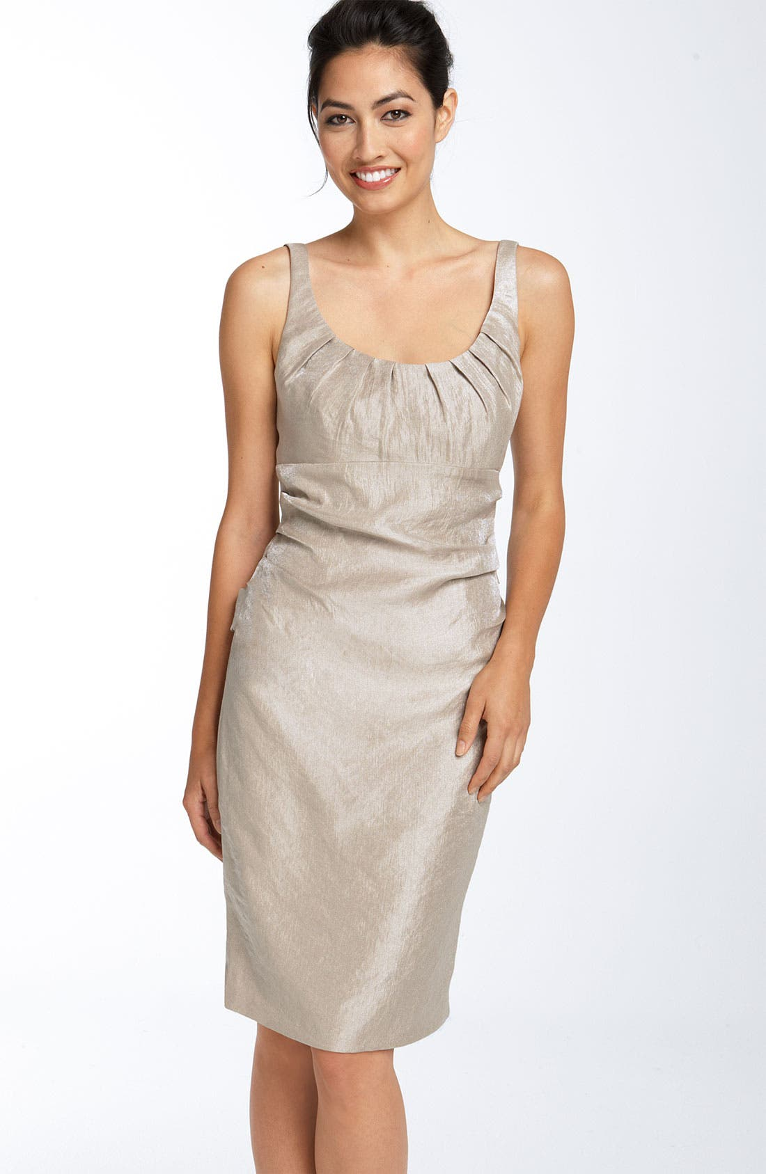 Main Image - Suzi Chin for Maggy Boutique Ruched Hammered Satin Sheath Dress