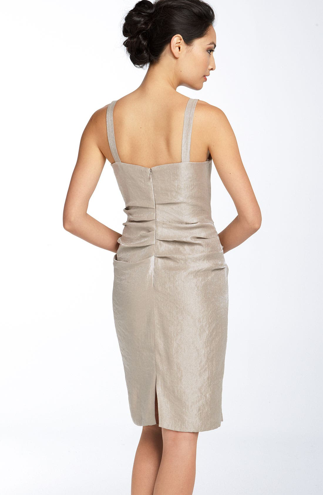 Alternate Image 2  - Suzi Chin for Maggy Boutique Ruched Hammered Satin Sheath Dress