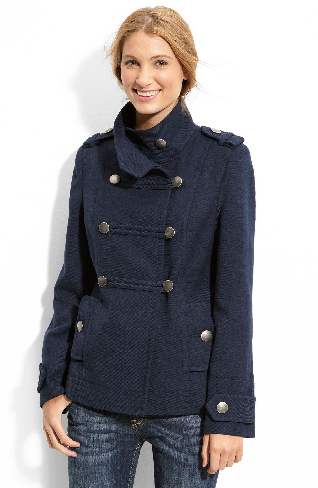 Main Image - Coffee Shop Double Breasted Twill Coat (Juniors)