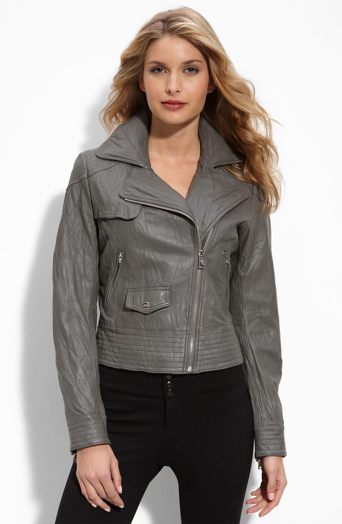 Main Image - Steve Madden Washed Leather Moto Jacket
