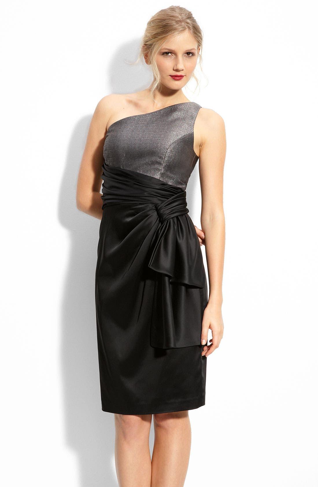 Main Image - Maggy London One Shoulder Jacquard & Stretch Satin Dress