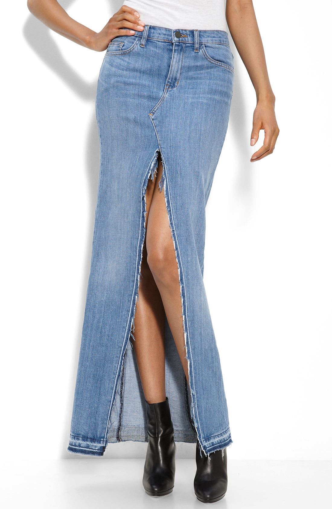 Main Image - Genetic 'The Chloe' Long Stretch Denim Skirt