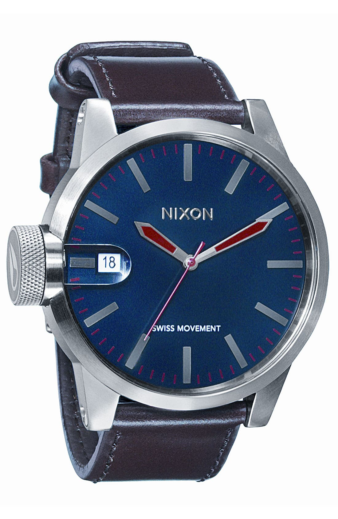 Alternate Image 1 Selected - Nixon 'The Chronicle' Leather Watch