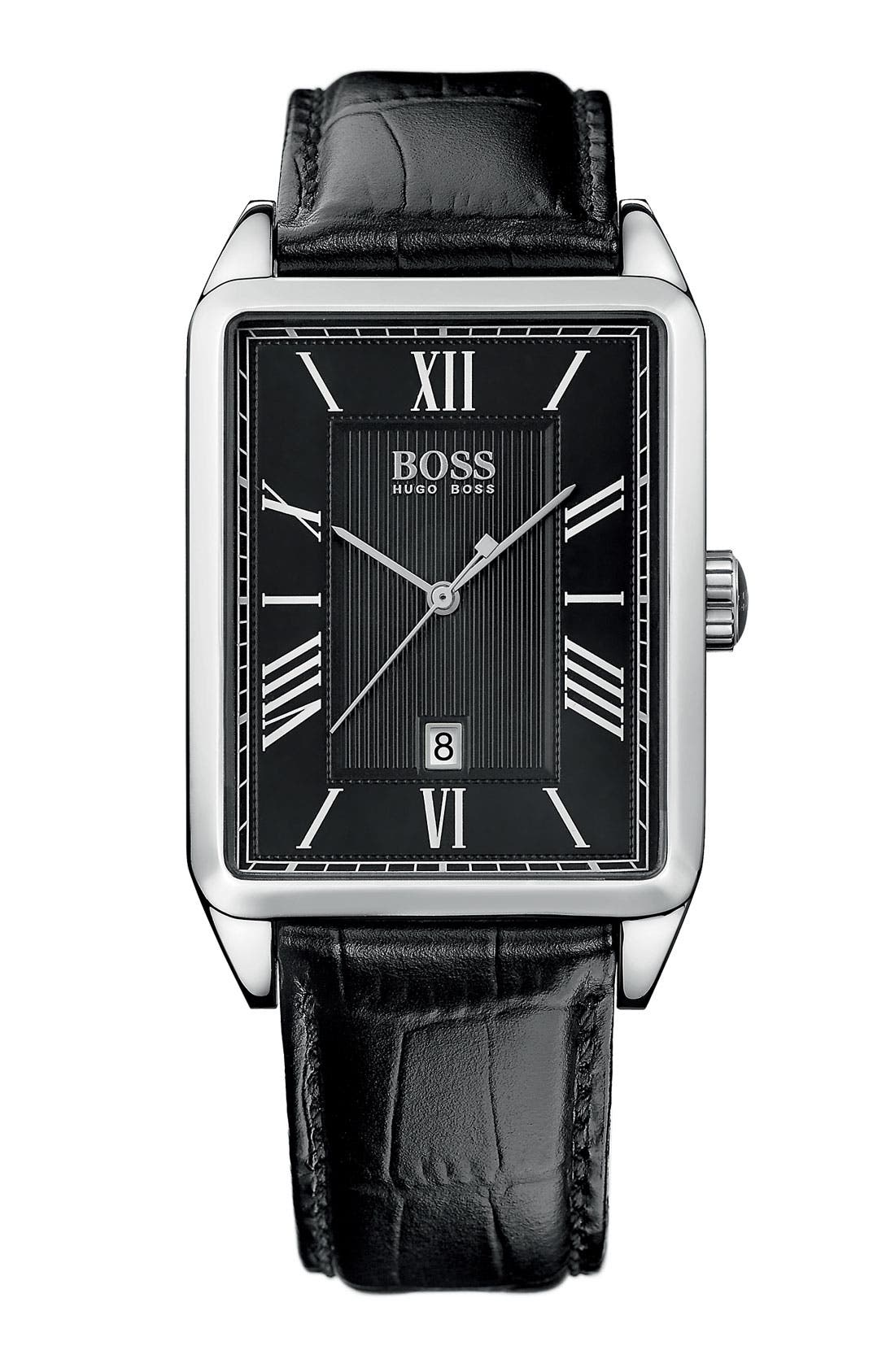 Main Image - BOSS HUGO BOSS Rectangular Case Leather Strap Watch, 33mm x 42mm