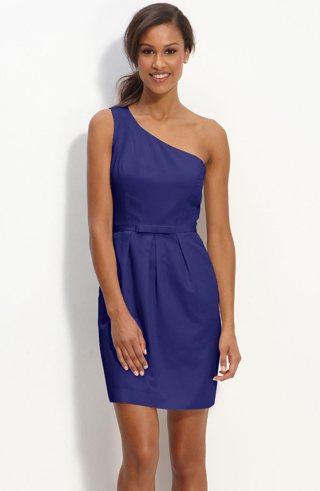 Main Image - Glint One Shoulder Faille Dress