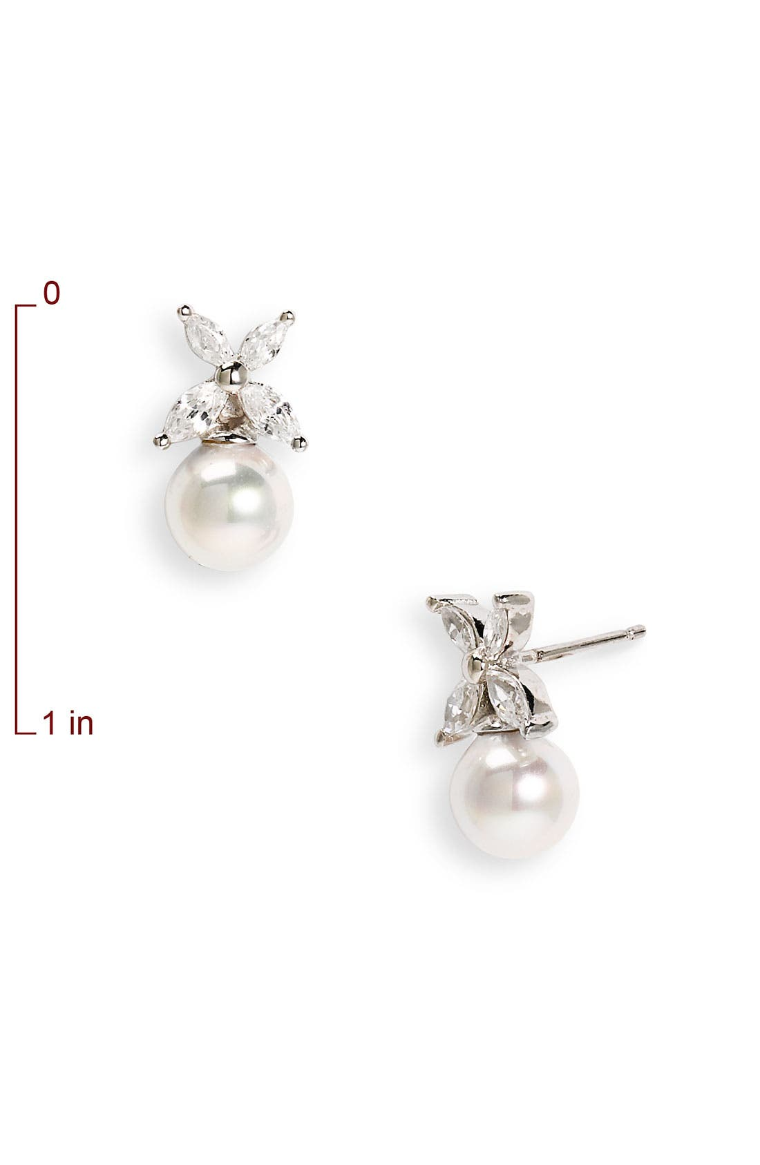 Alternate Image 2  - Majorica 8mm Pearl & Cubic Zirconia Flower Earrings