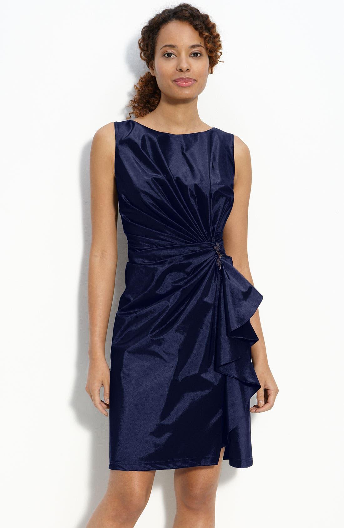 Main Image - Tadashi Shoji Ruffle Front Taffeta Sheath Dress