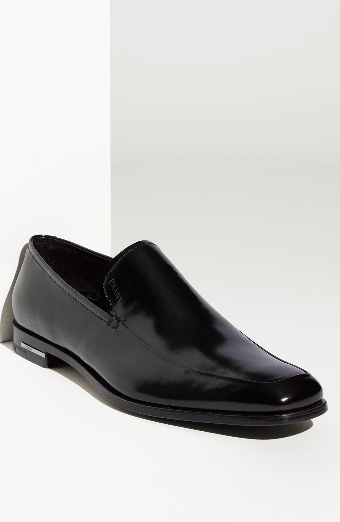 Alternate Image 1 Selected - Prada High Shine Apron Toe Slip On (Men)