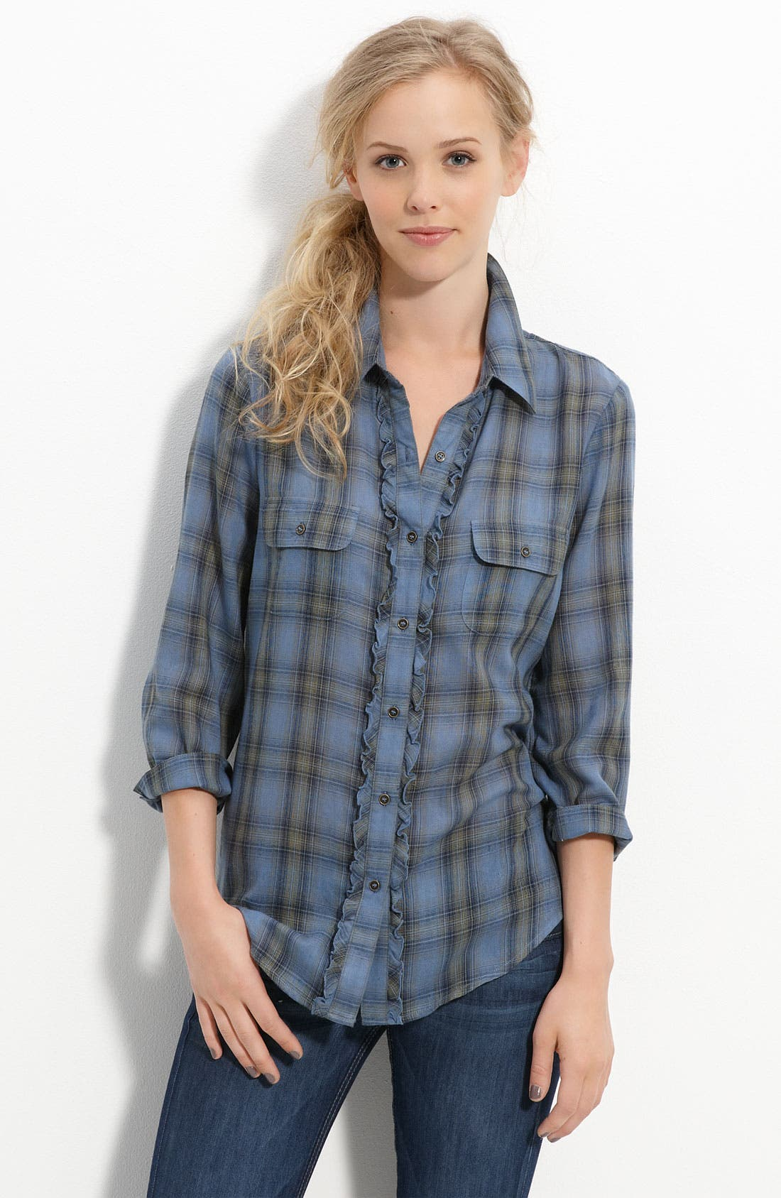 Main Image - Love on a Hanger Ruffled Plaid Shirt (Juniors)