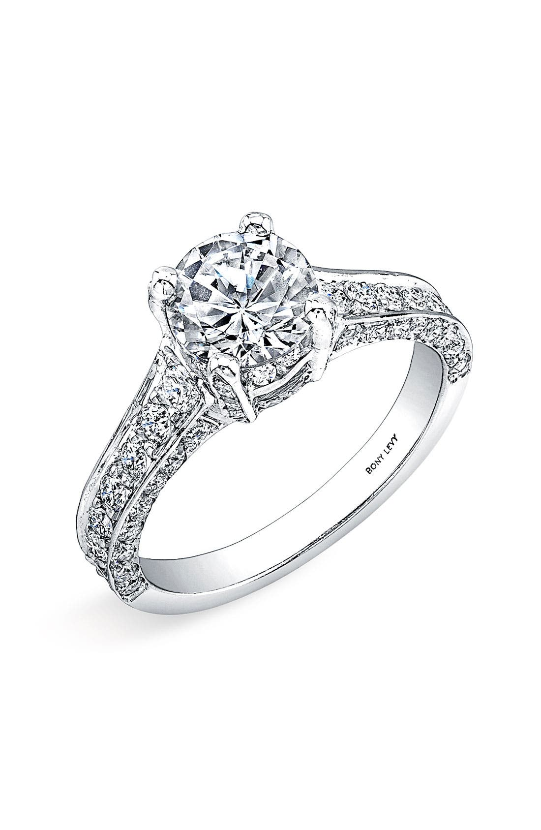 Main Image - Bony Levy Pavé Diamond Encrusted Engagement Ring Setting (Nordstrom Exclusive)