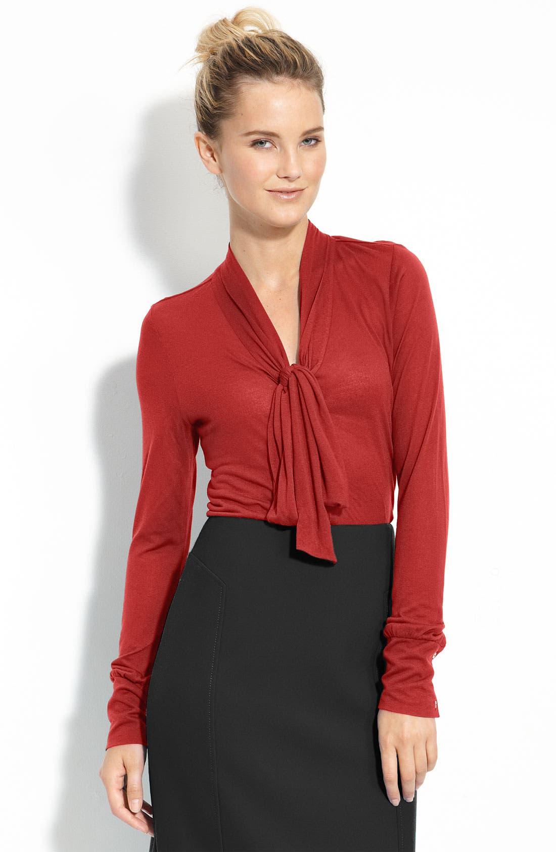 Alternate Image 1 Selected - Halogen® Long Sleeve Tie Neck Top