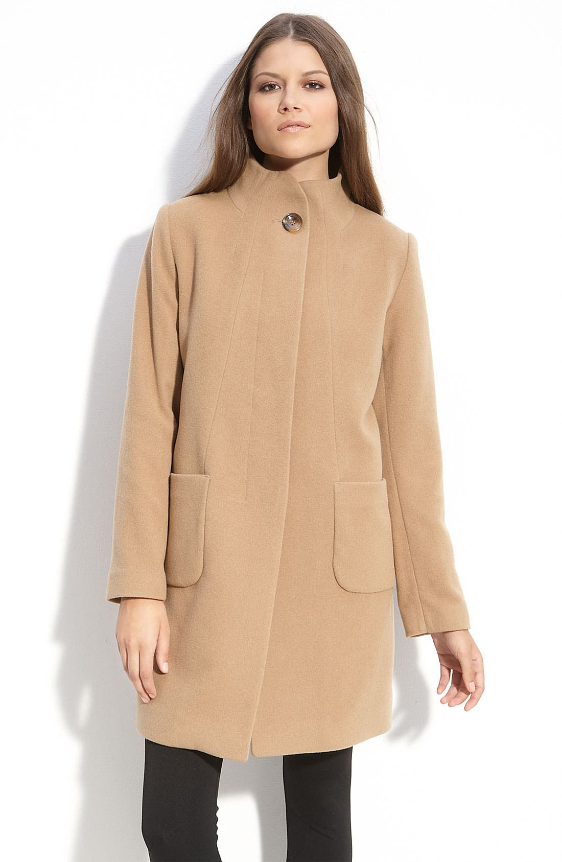 Main Image - Kristen Blake Stand Collar Wool Blend Coat
