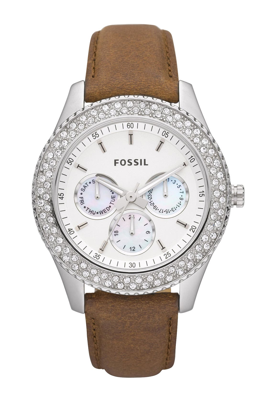 Alternate Image 1 Selected - Fossil 'Stella' Crystal Topring Multifunction Watch, 37mm