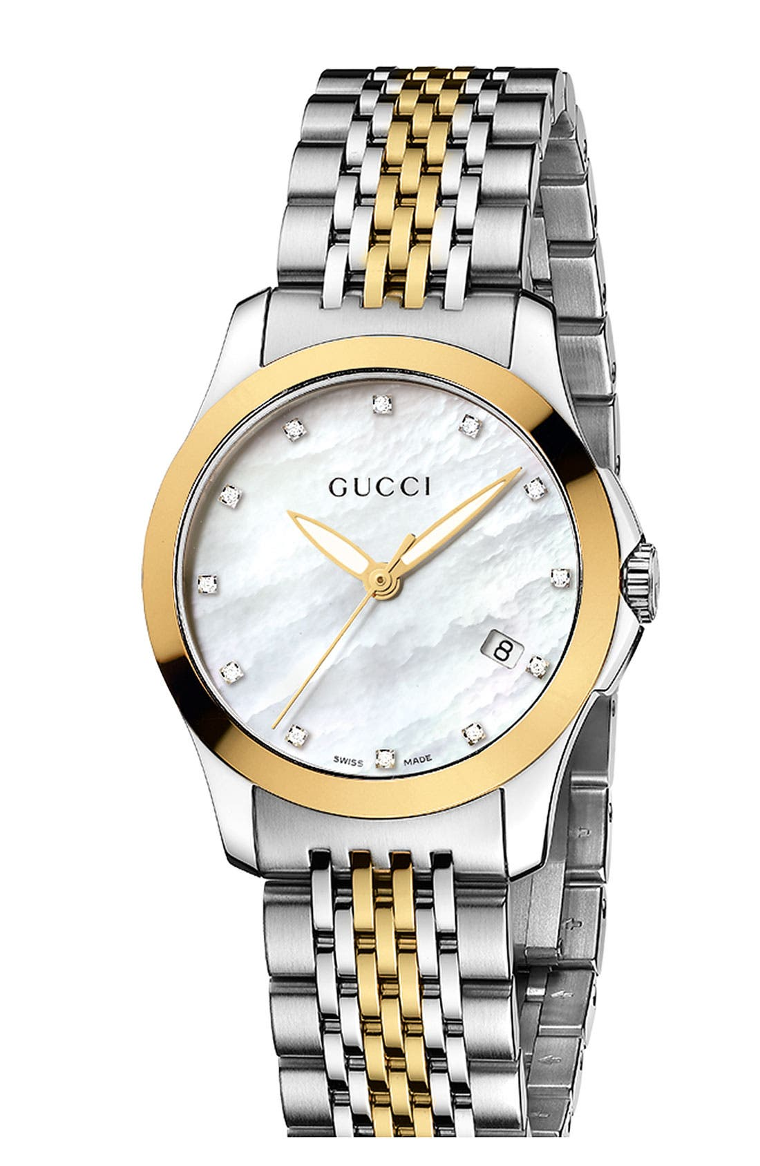 Alternate Image 1 Selected - Gucci 'G Timeless' Small Diamond Index Bracelet Watch, 27mm