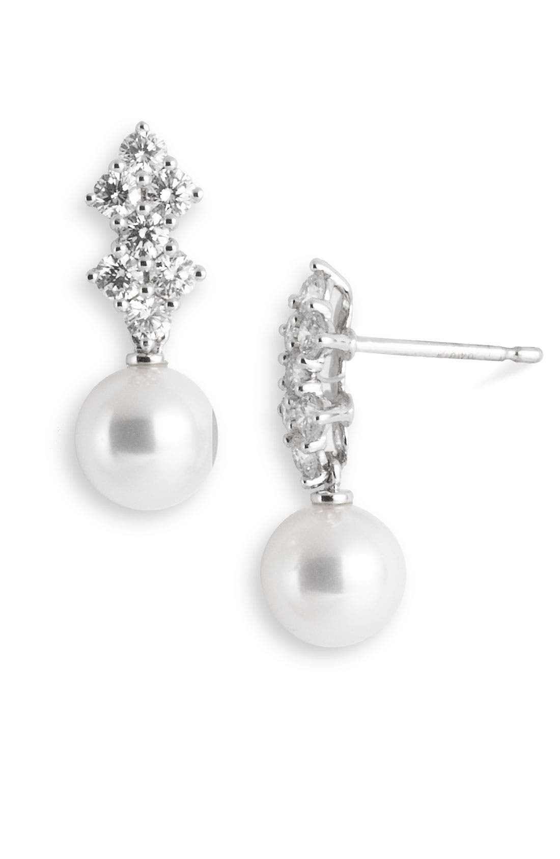 Main Image - Mikimoto 'Classic Elegance' Akoya Cultured Pearl & Diamond Earrings