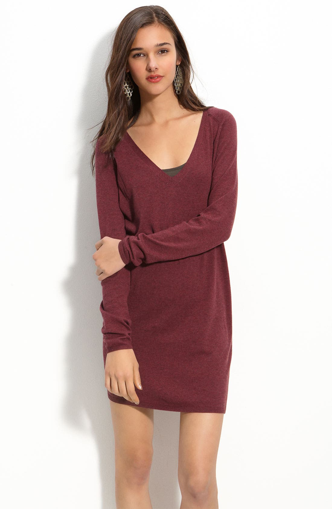 Alternate Image 1 Selected - Rubbish Slouchy Cotton Sweater Dress (Juniors)