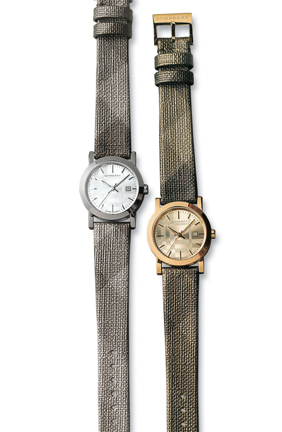 Alternate Image 2  - Burberry Small Round Shimmer Check Strap Watch
