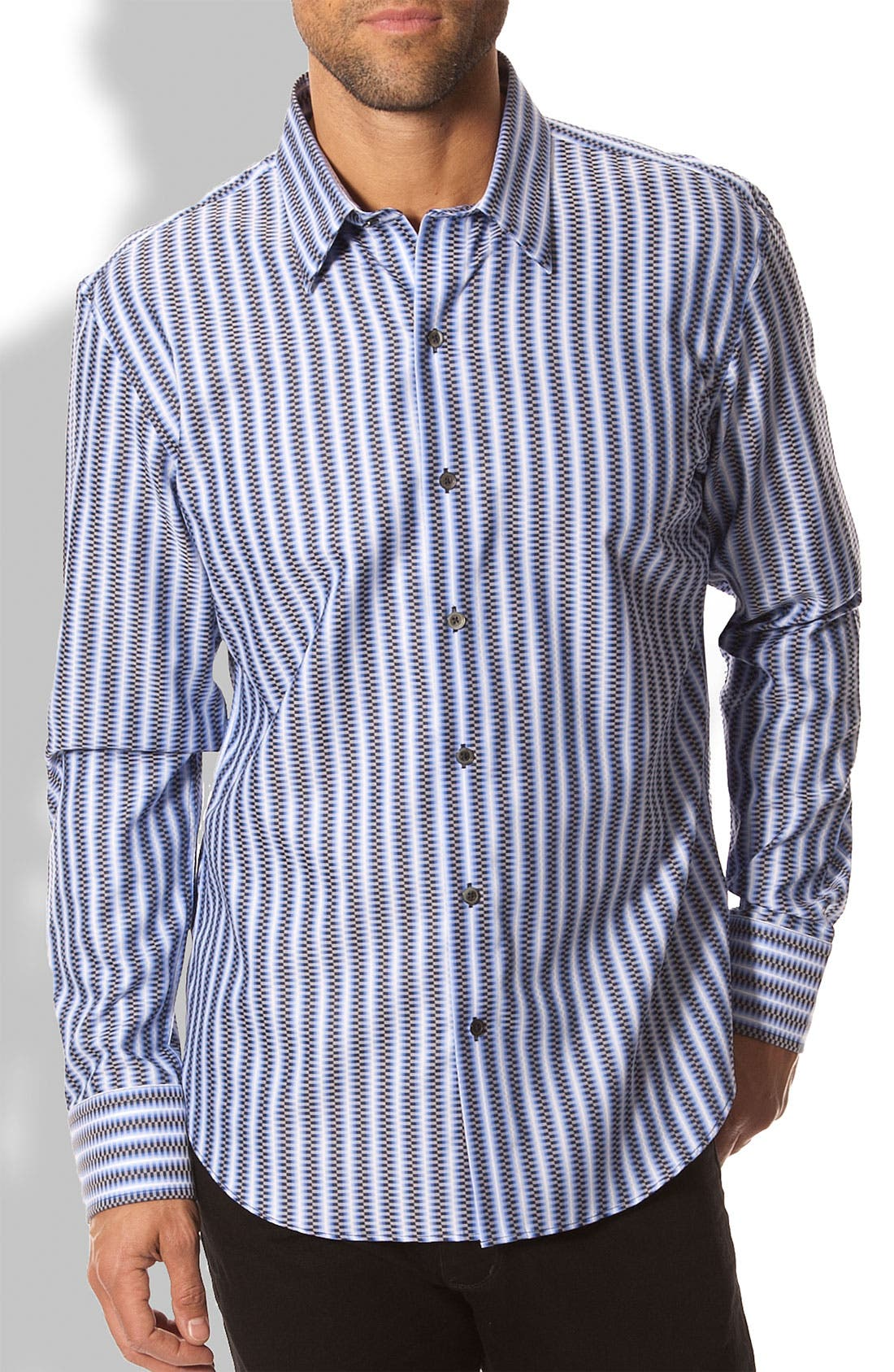 Main Image - 7 Diamonds 'Mind Circles' Dobby Stripe Sport Shirt