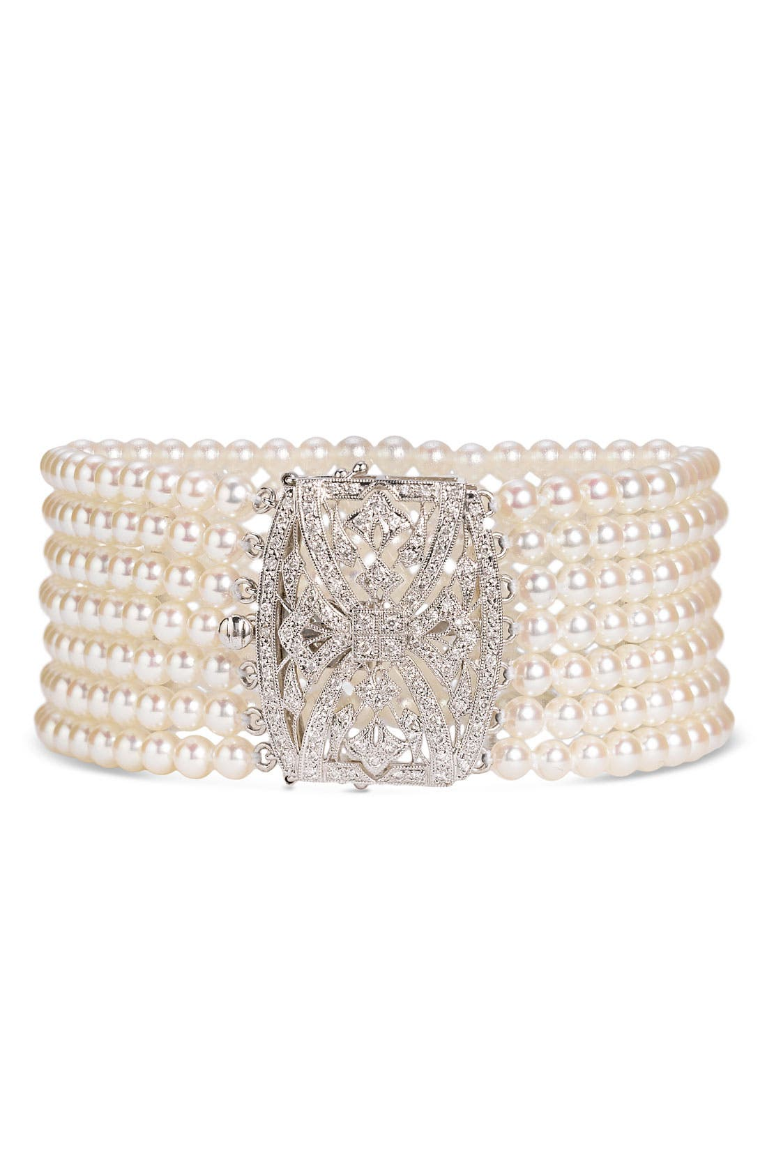 Alternate Image 1 Selected - Mastoloni 7-Strand Pearl & Diamond Clasp Bracelet