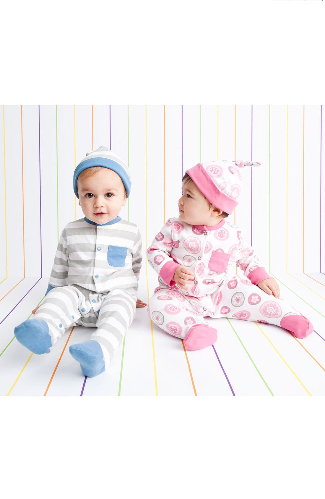 Alternate Image 2  - Offspring Stripe Footie & Hat Set (Infant)