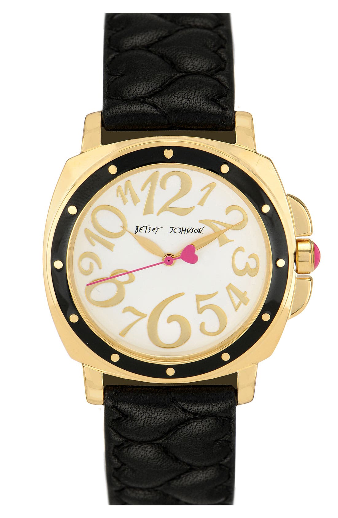 Main Image - Betsey Johnson 'Lots 'n' Lots of Time' Quilted Strap Watch, 37mm