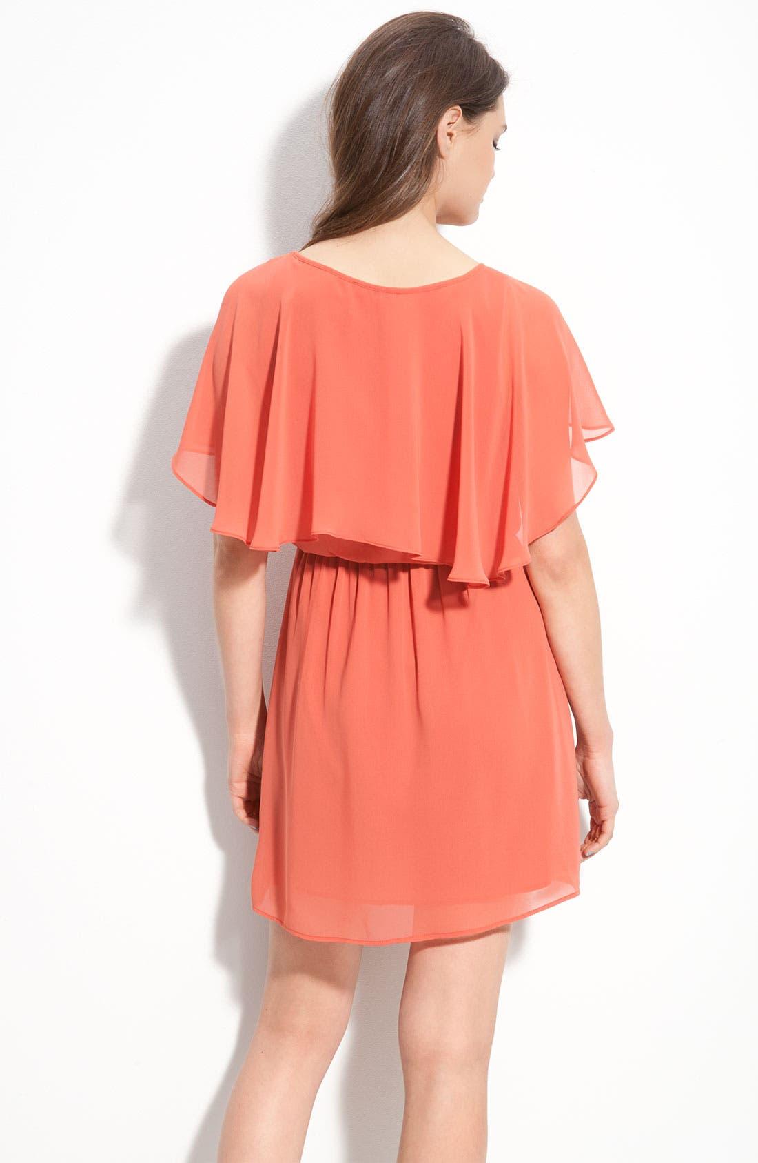 Alternate Image 2  - Lush Cape Sleeve Chiffon Dress (Juniors)