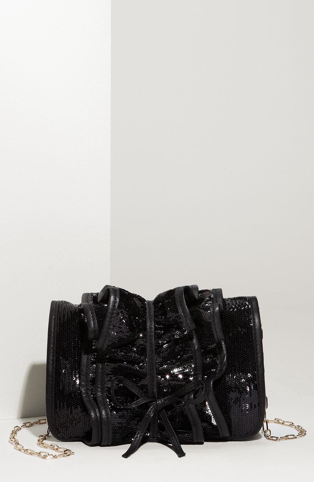 Main Image - RED Valentino 'Sequin Ruffle' Leather Clutch