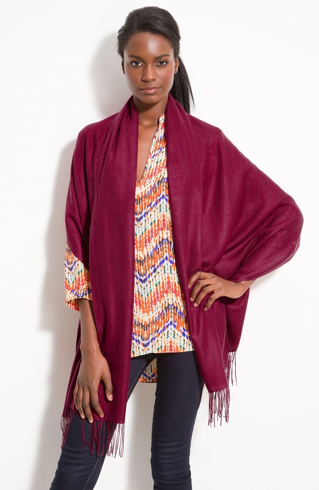 Alternate Image 1 Selected - Nordstrom Collection Herringbone Cashmere Scarf