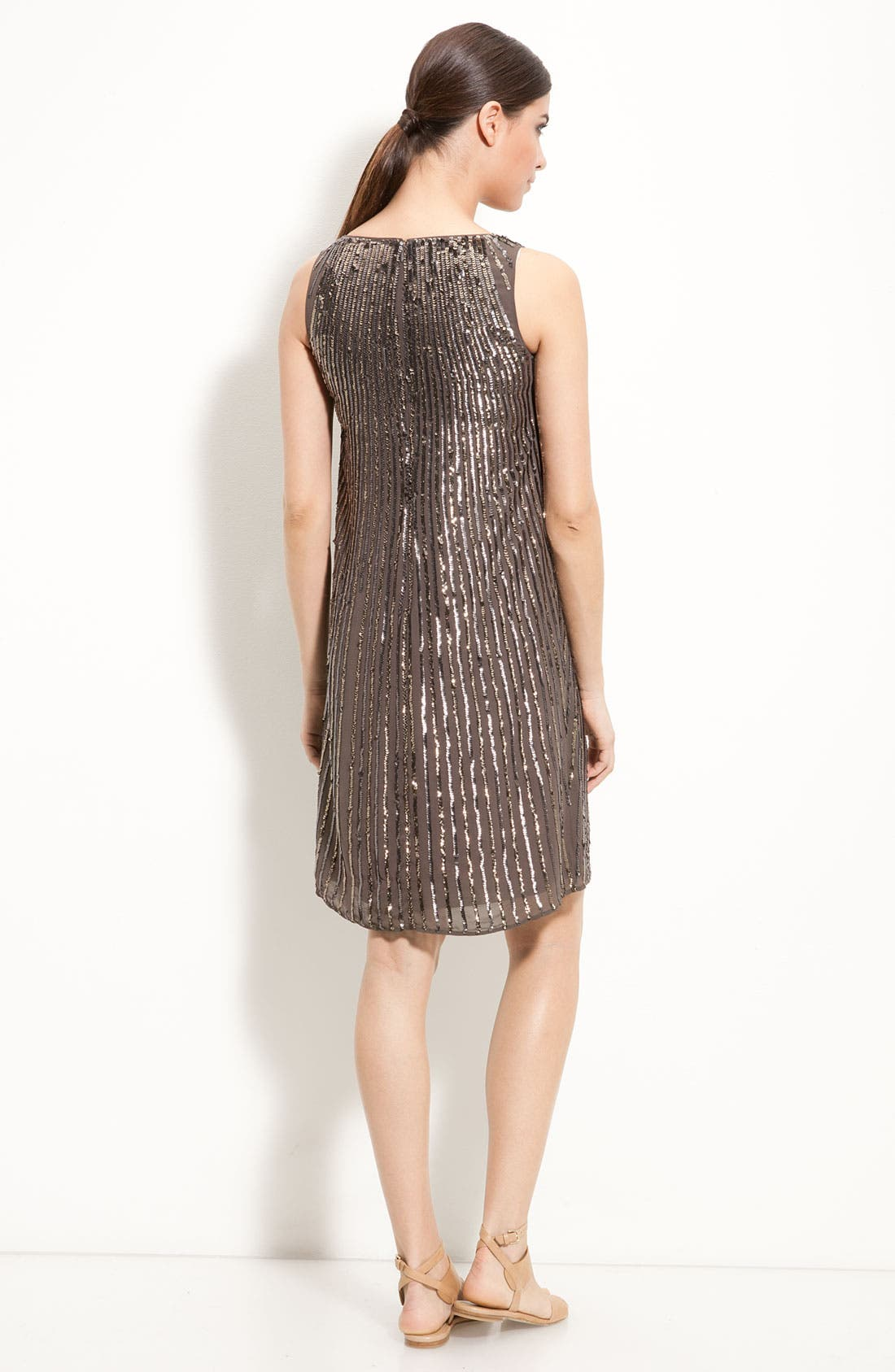 Alternate Image 2  - St. John Collection Flared Silk Dress with Sequin Trim