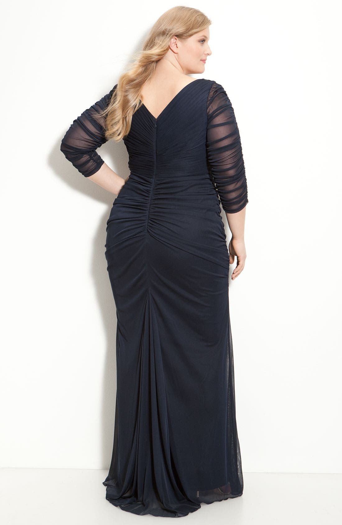 Alternate Image 2  - Adrianna Papell Beaded Mesh Gown (Plus Size)