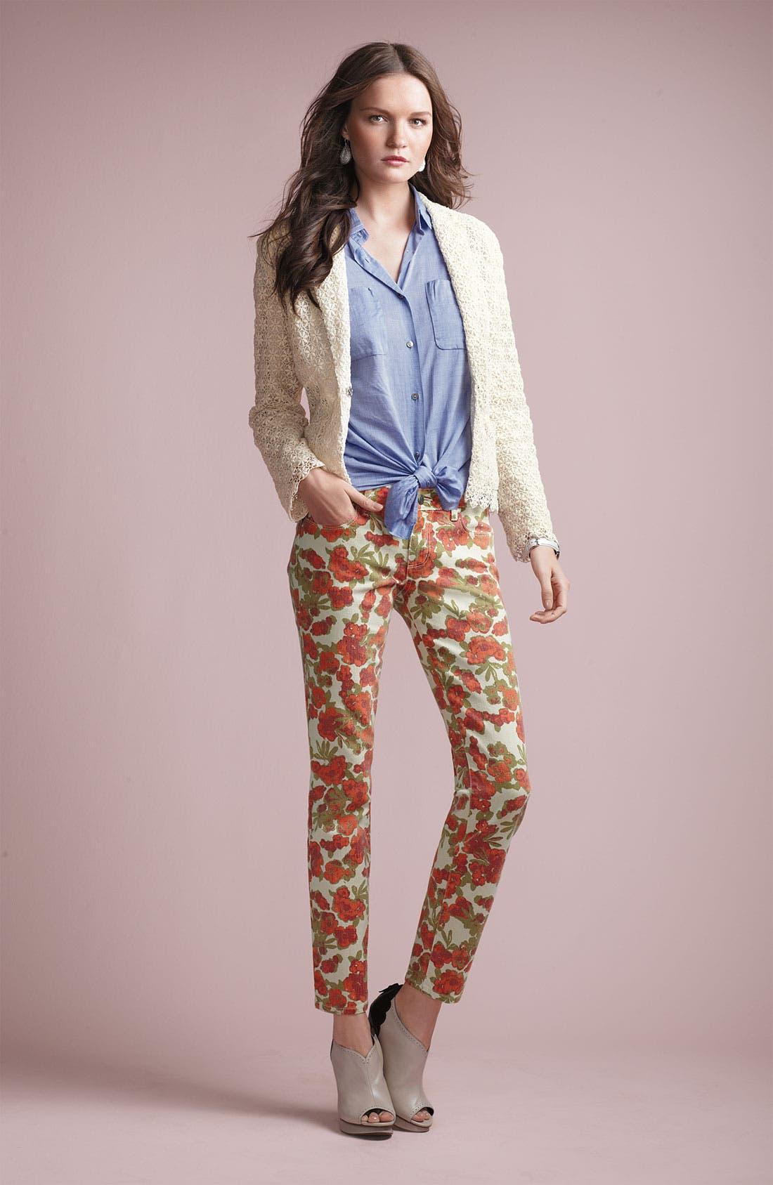 Alternate Image 5  - Paige Denim 'Skyline' Floral Skinny Ankle Jeans (Chello Ivory Print)
