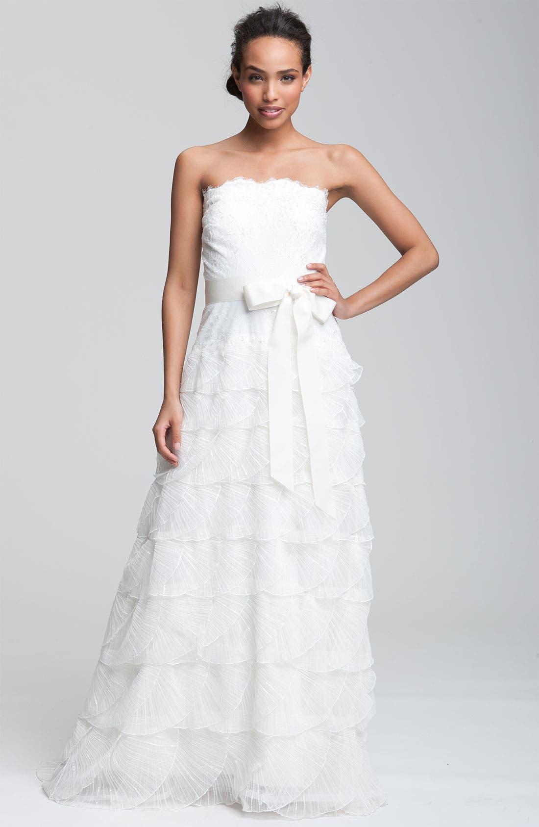Alternate Image 1 Selected - Tadashi Shoji Strapless Lace Gown