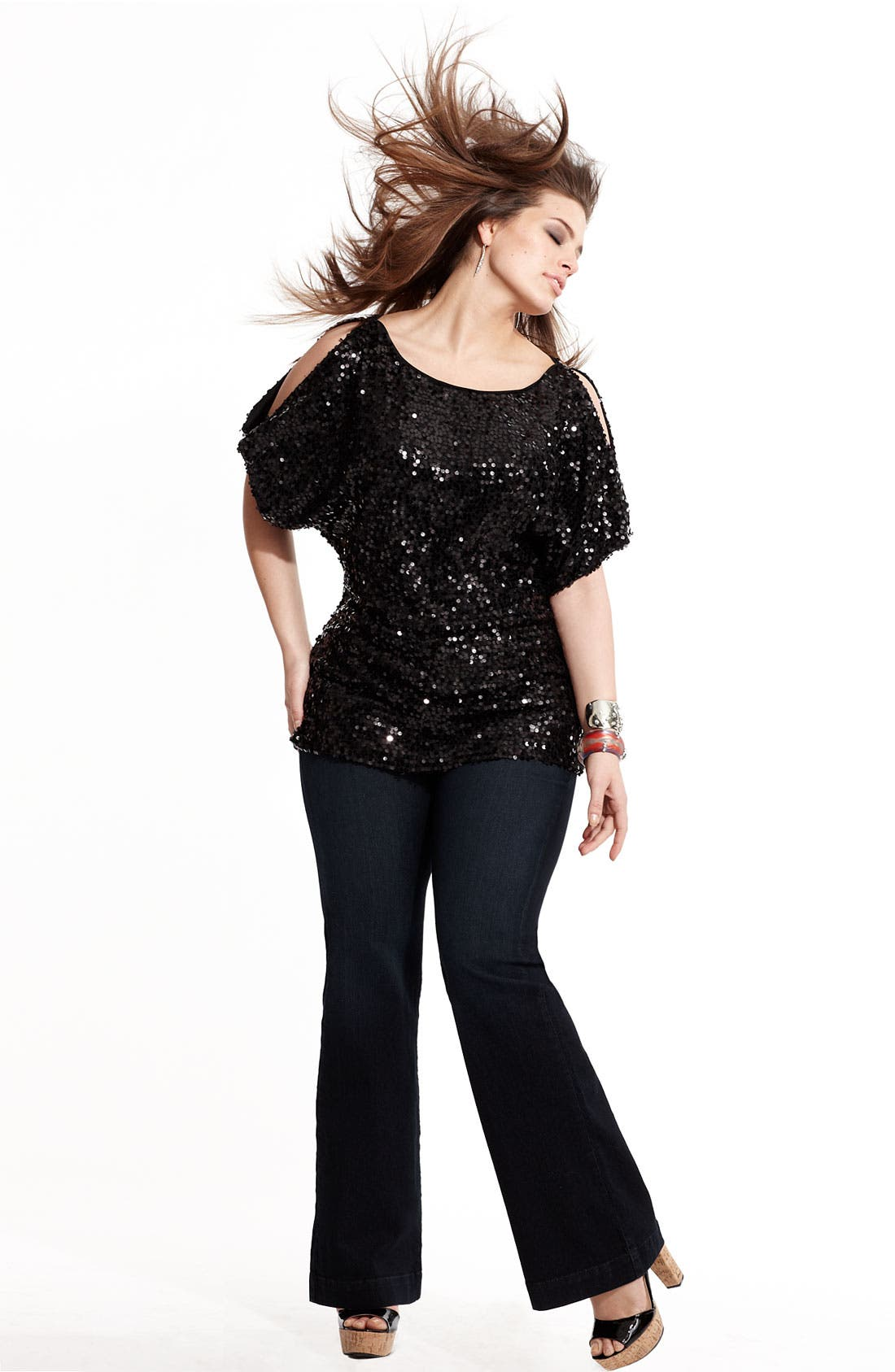 Alternate Image 3  - Adrianna Papell Sequin Dolman Sleeve Top (Plus)