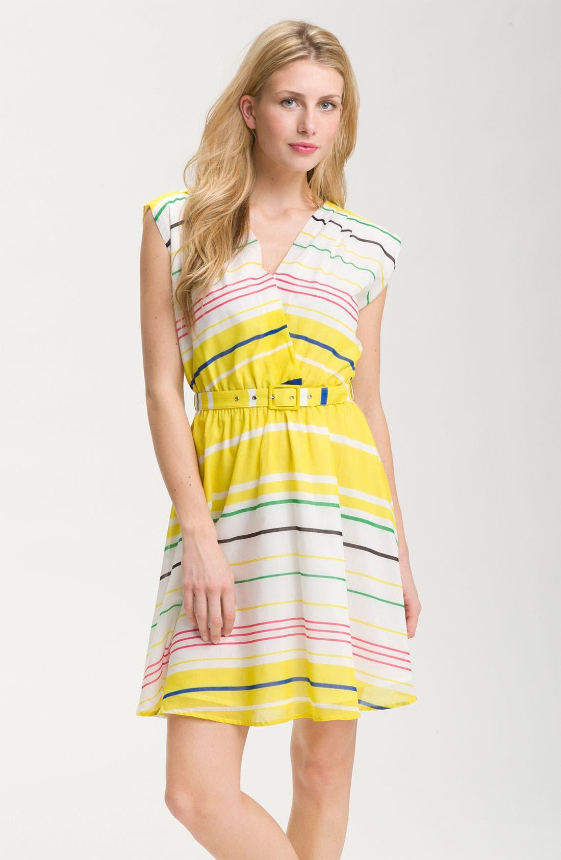 Main Image - Presley Skye 'Sloane' Belted Stripe Dress