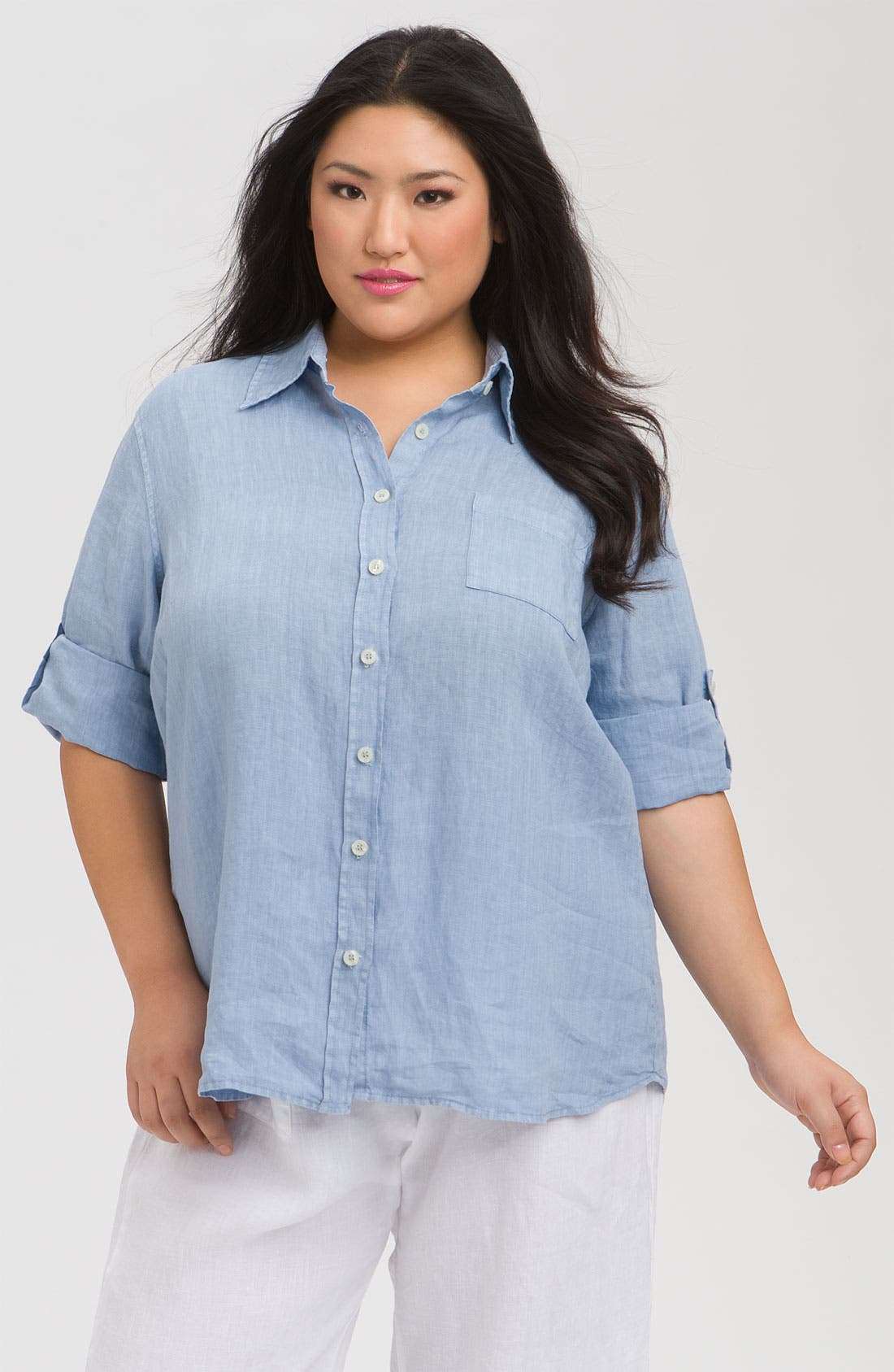 Main Image - Allen Allen Tab Sleeve Linen Shirt (Plus)