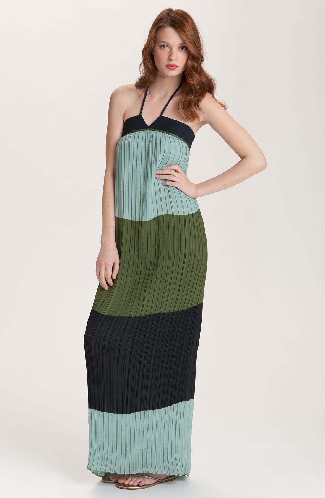 Alternate Image 1 Selected - Derek Lam 10 Crosby Pleated Colorblock Halter Maxi Dress