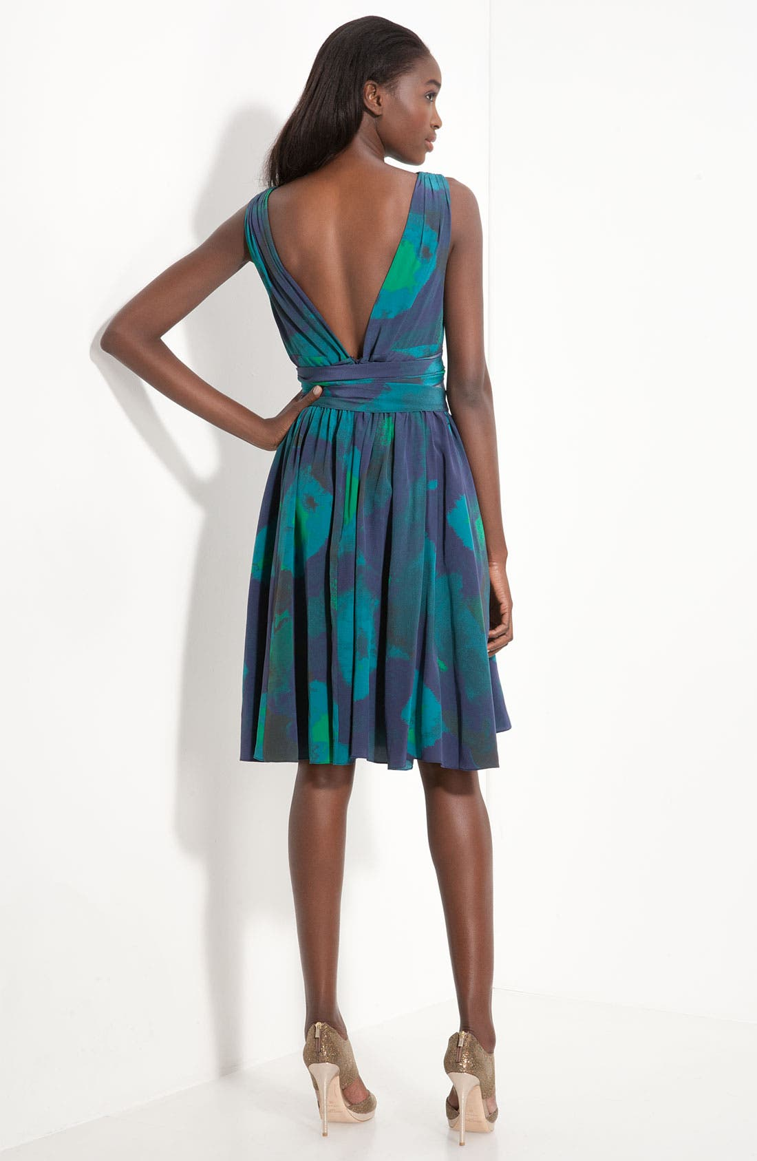 Alternate Image 2  - Halston Heritage Print Crêpe de Chine Dress