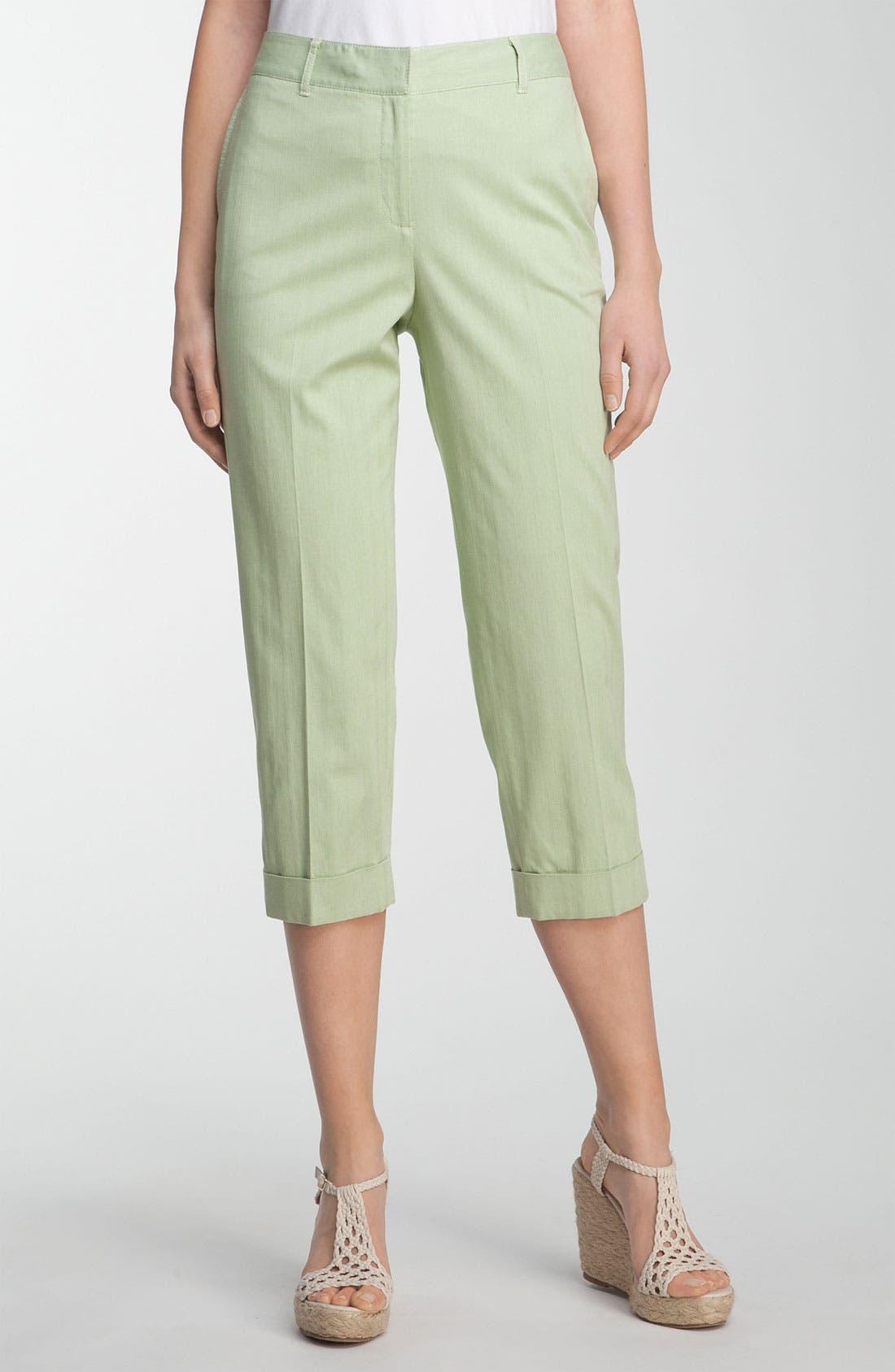 Alternate Image 1 Selected - Lafayette 148 New York 'Static Stripe' Cuffed Crop Pants