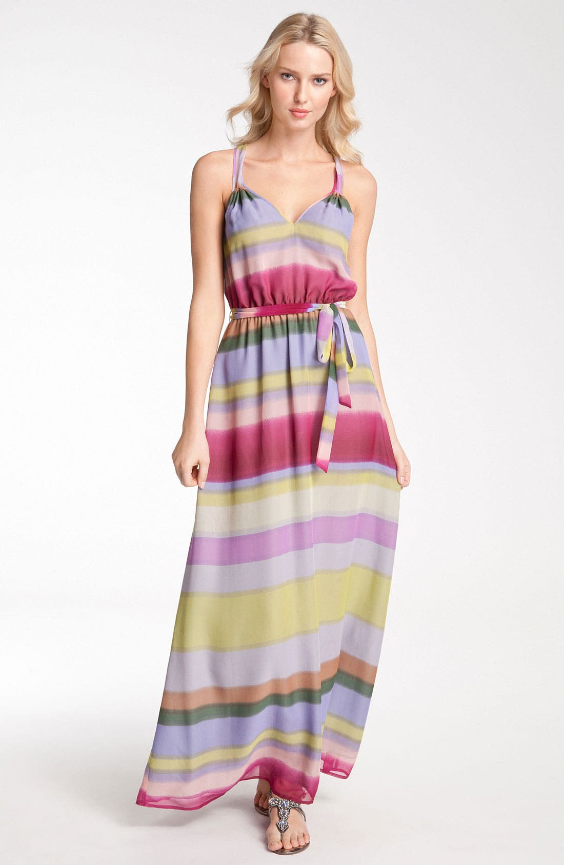 Alternate Image 1 Selected - Presley Skye Stripe Tie Waist Silk Chiffon Maxi Dress