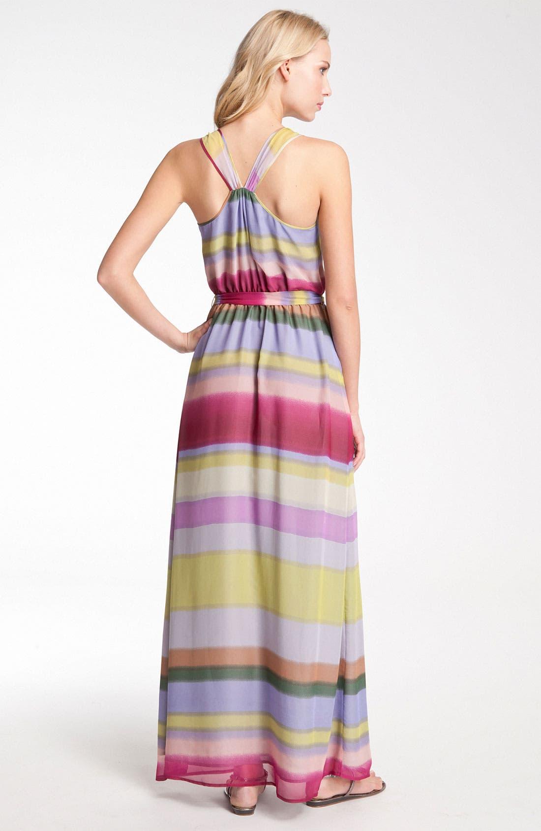 Alternate Image 2  - Presley Skye Stripe Tie Waist Silk Chiffon Maxi Dress