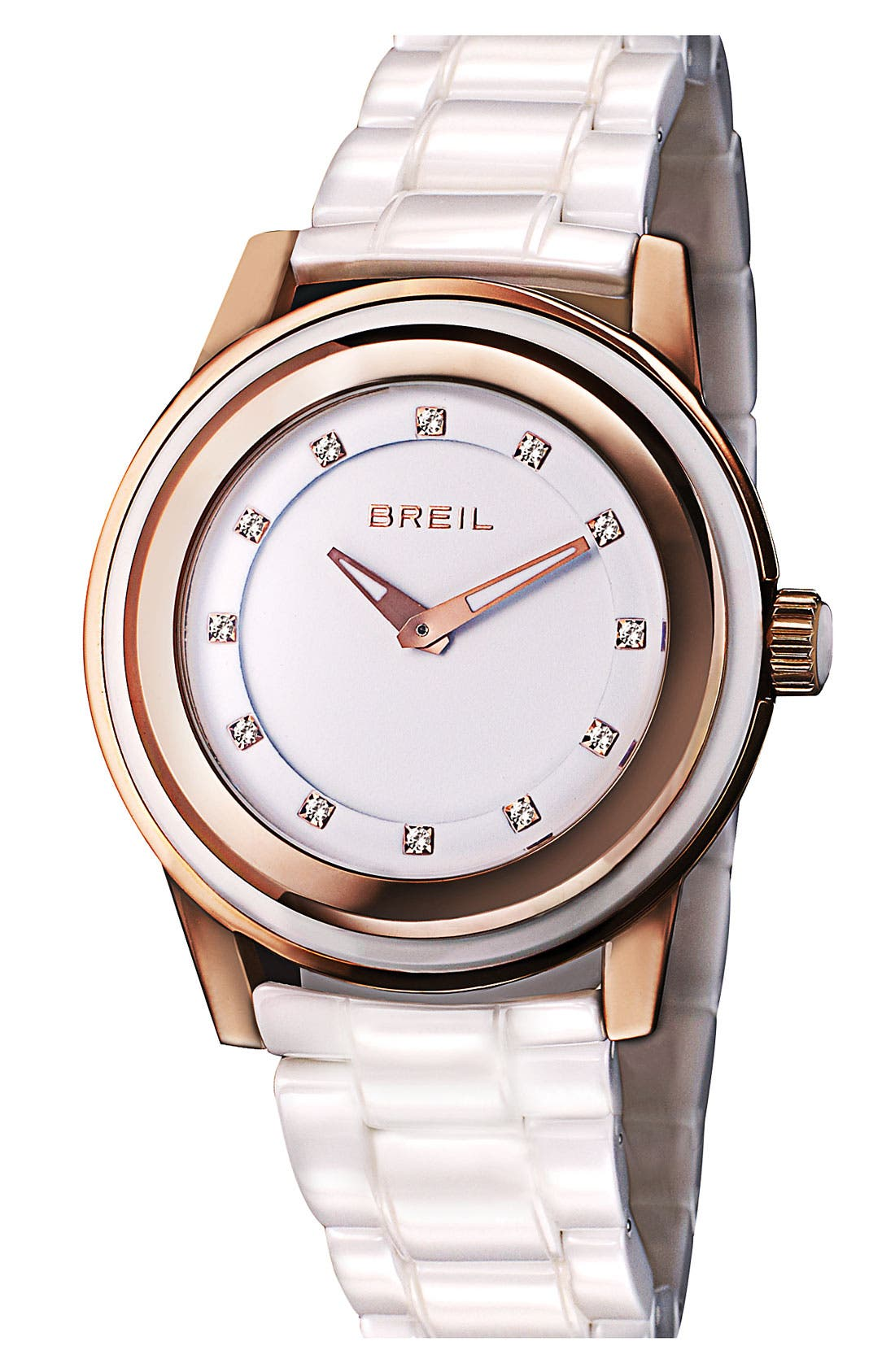 Alternate Image 1 Selected - Breil 'Orchestra' Crystal Index Ceramic Watch, 40mm ($395 Value)