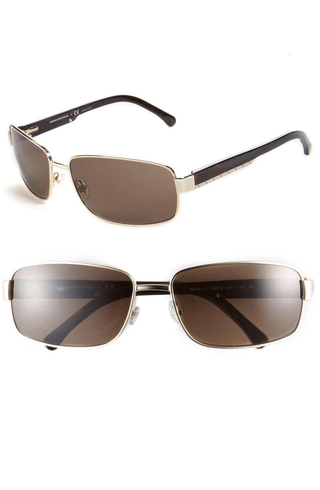 Alternate Image 1 Selected - Brooks Brothers 63mm Metal Rectangular Sunglasses
