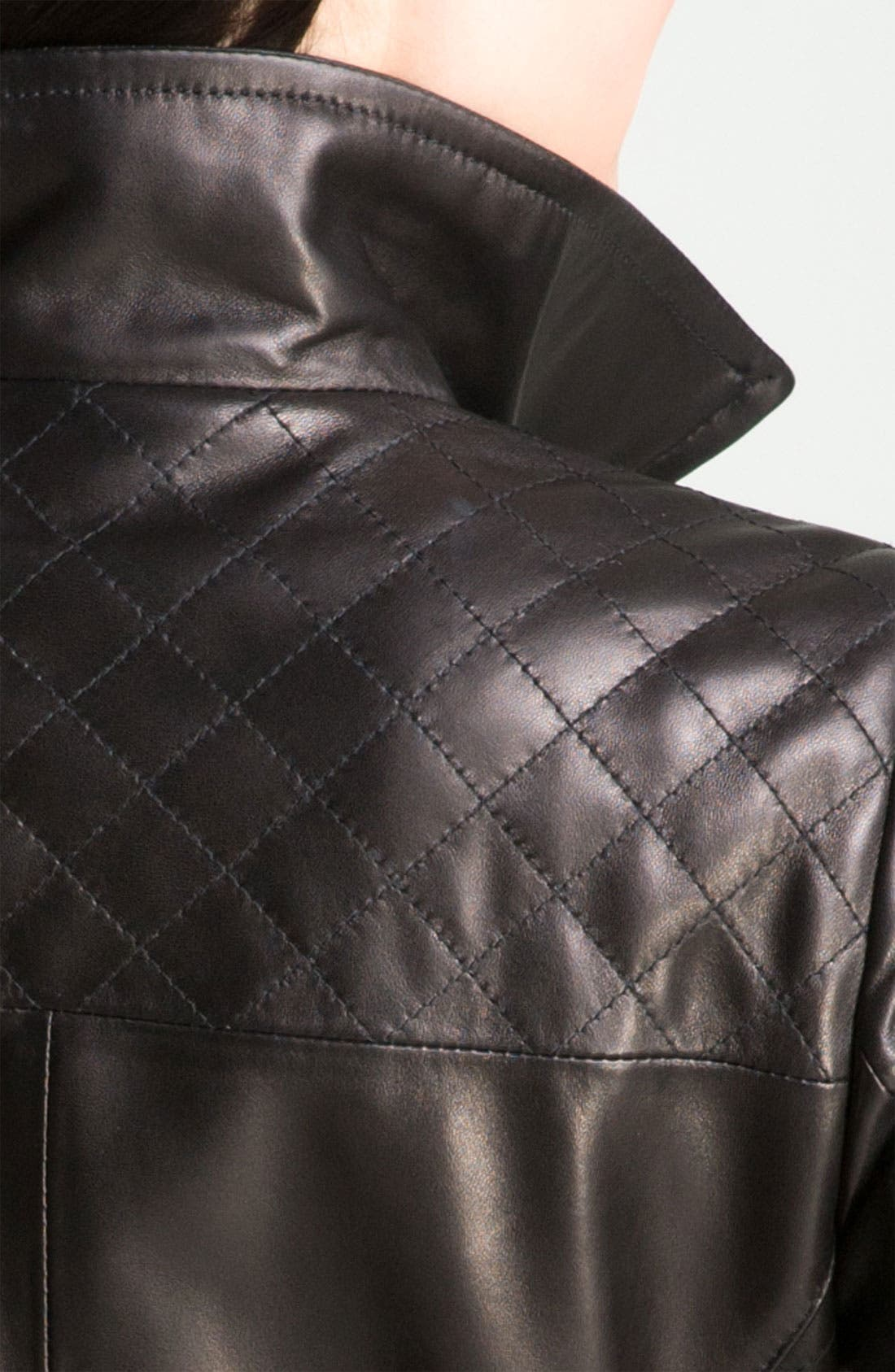 Alternate Image 3  - Ellen Tracy Quilt Trim Lambskin Leather Topper (Nordstrom Exclusive)