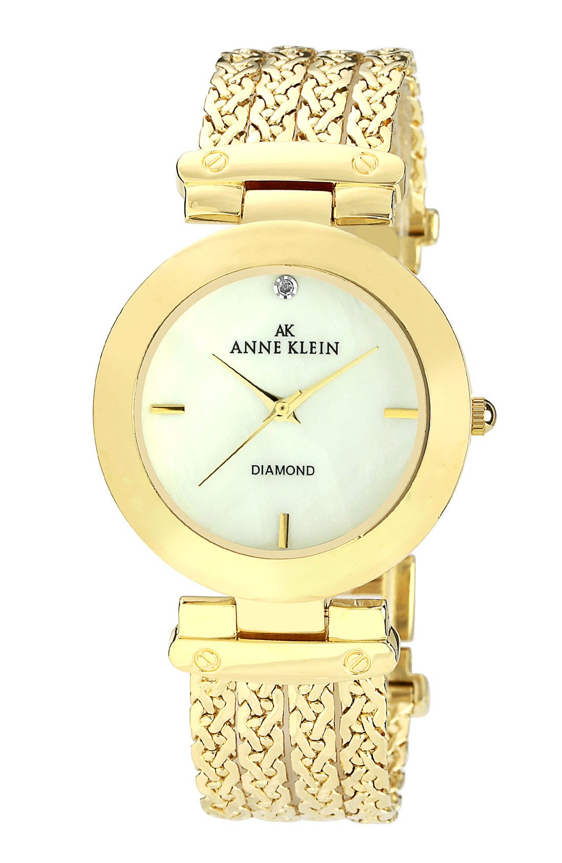 Alternate Image 1 Selected - Anne Klein Diamond Dial Chain Bracelet Watch
