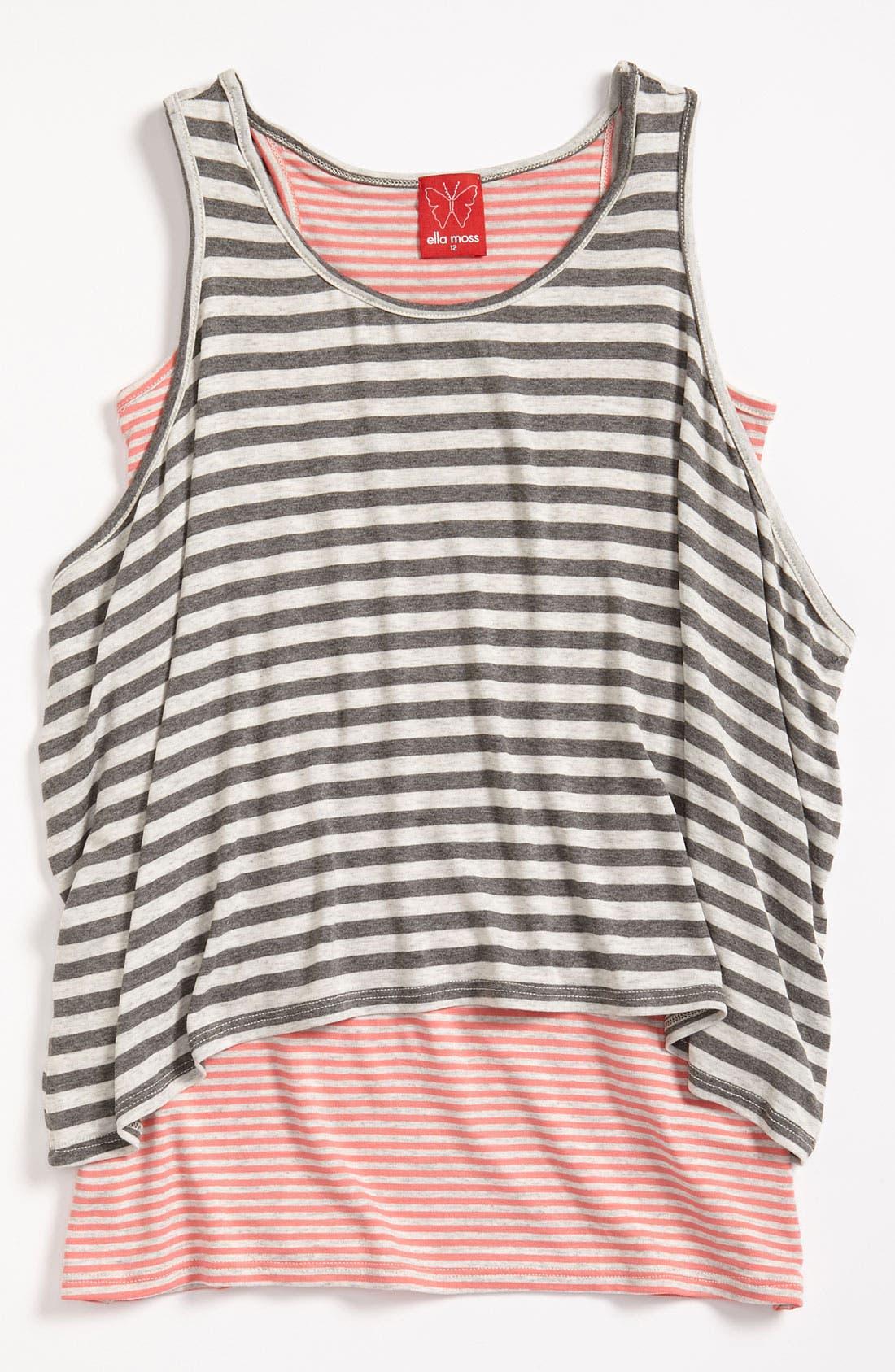 Main Image - Little Ella Double Layer Stripe Tank Top (Big Girls)