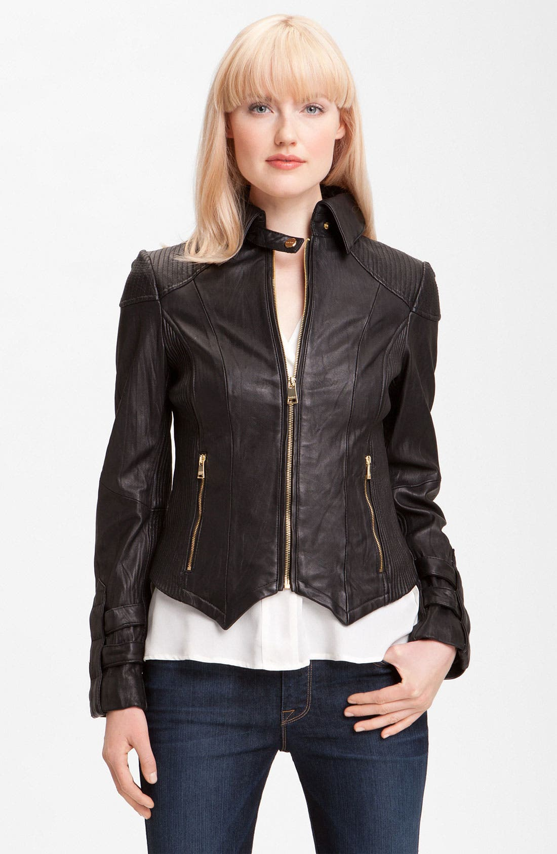 Main Image - bebe Leather Moto Jacket