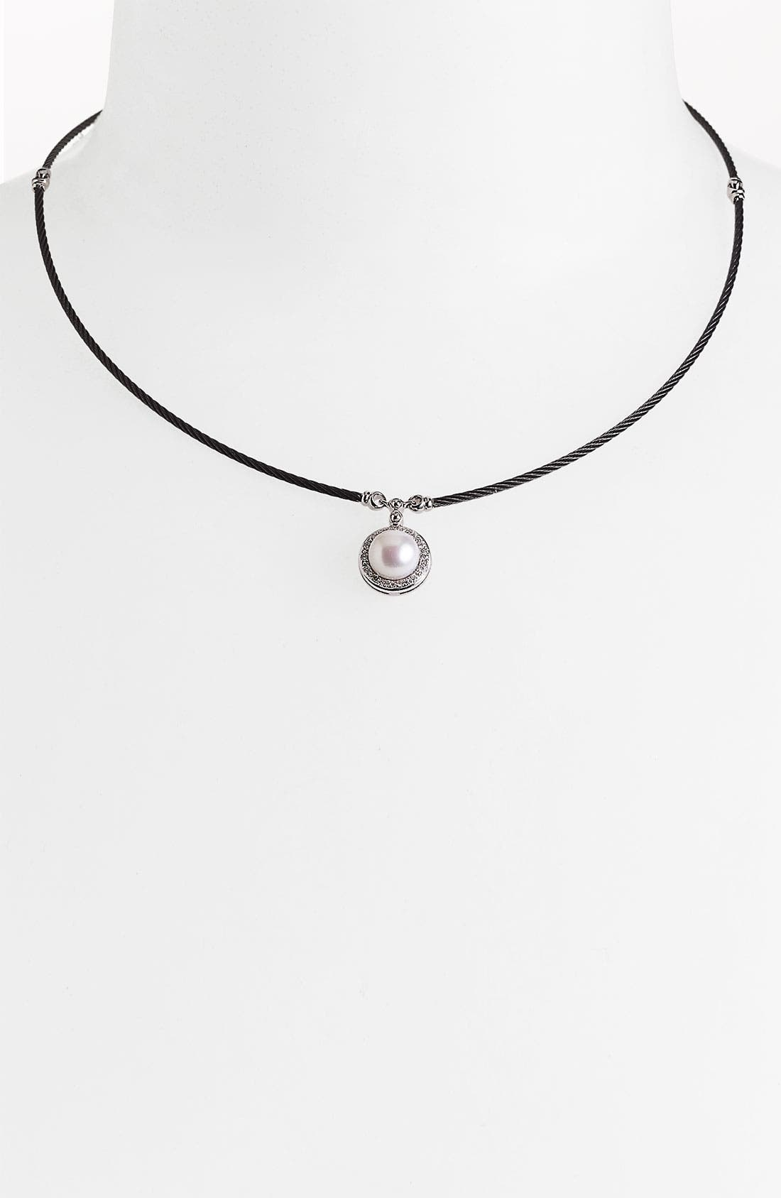 Alternate Image 1 Selected - ALOR® Pearl & Diamond Pendant Necklace