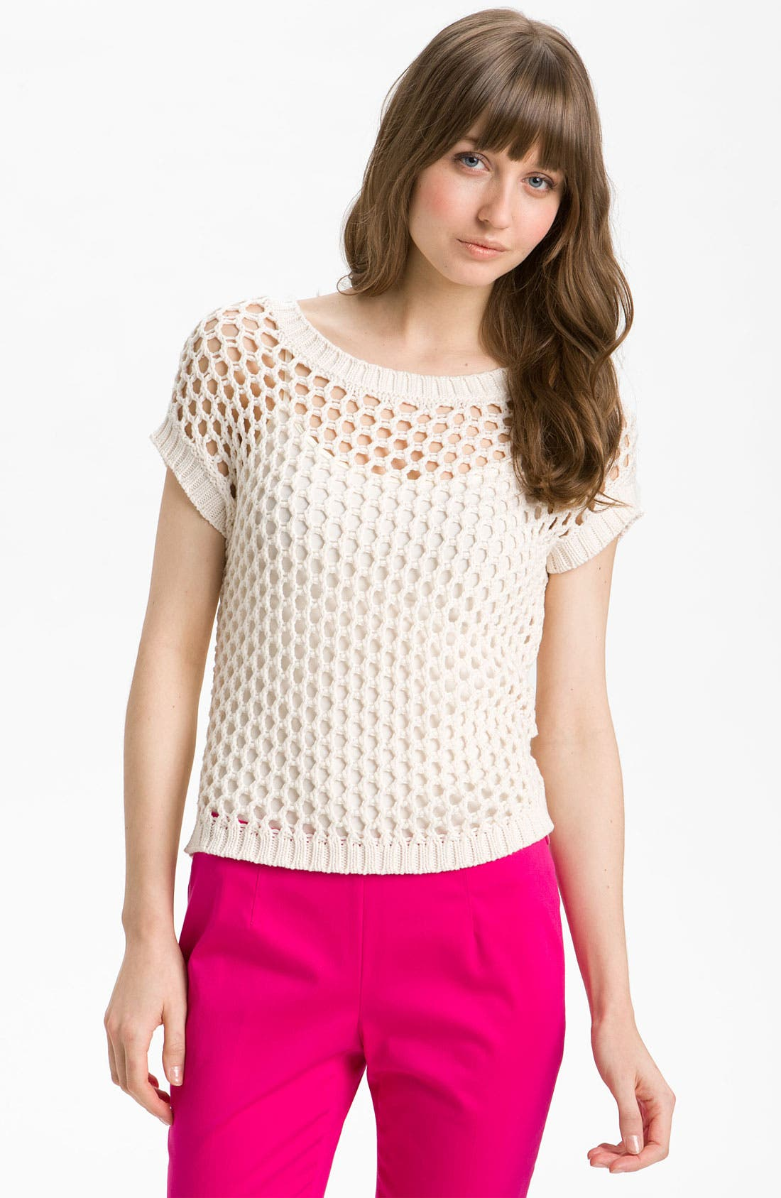 Alternate Image 1 Selected - Vince Camuto Open Mesh Stitch Sweater