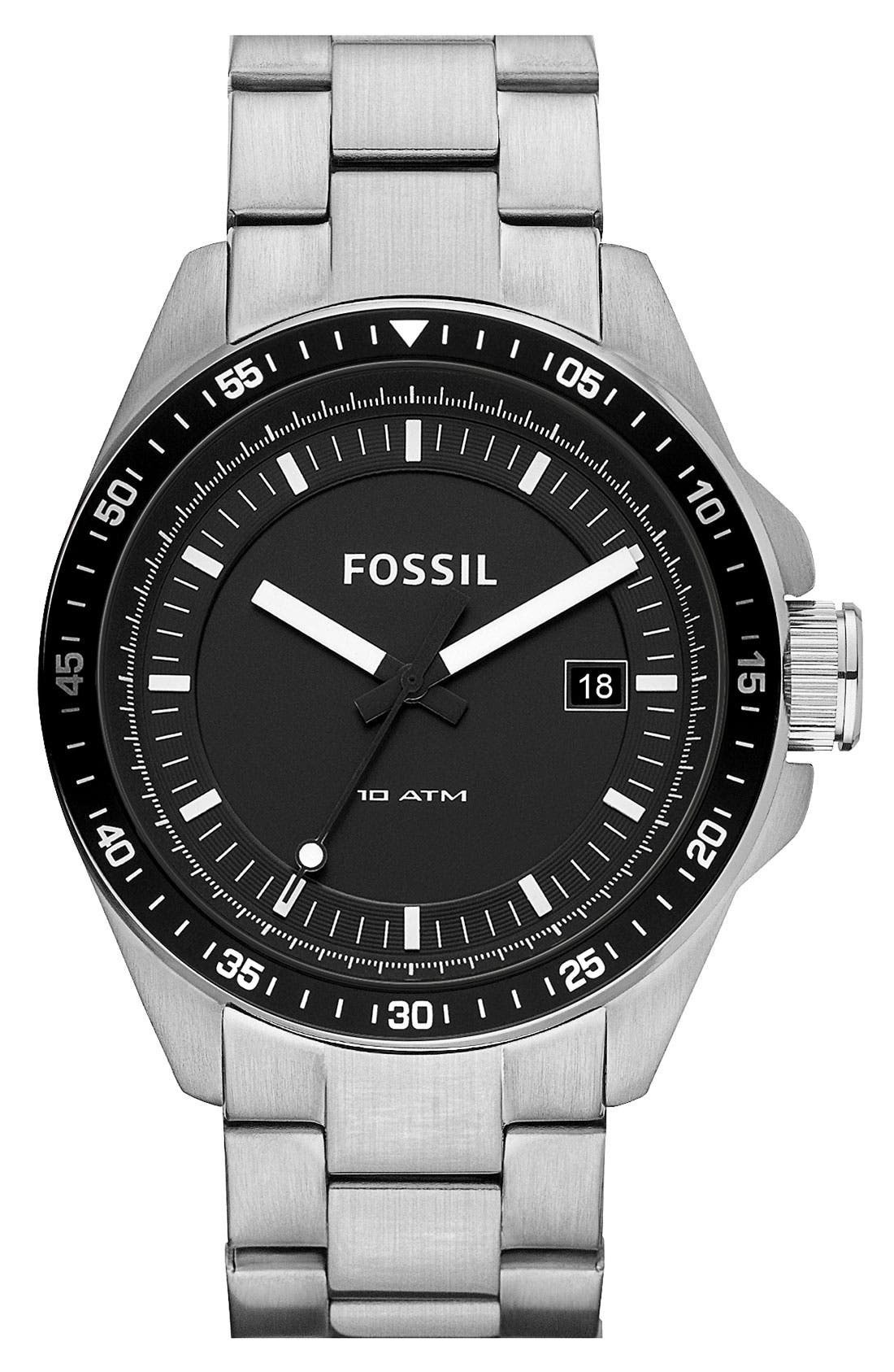 Alternate Image 1 Selected - Fossil 'Decker' Round Dial Bracelet Watch, 44mm