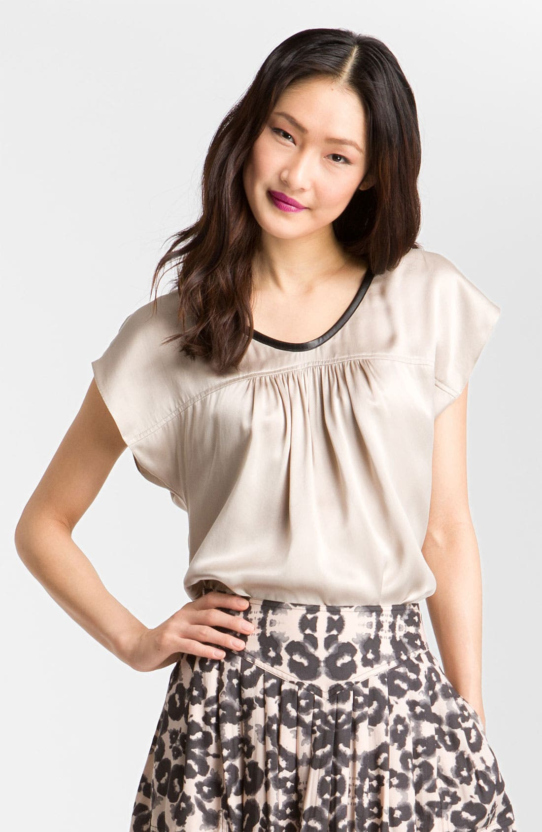 Main Image - Rebecca Taylor Leather Trim Silk Blouse
